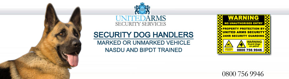 Security Guard Dogs::Professional Security Guard and Dog Services, we can supply dog units in marked or unmarked vehicles, with dog signs as standard.